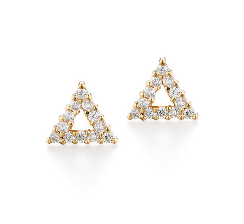Triangle Diamond Earrings | more gold options