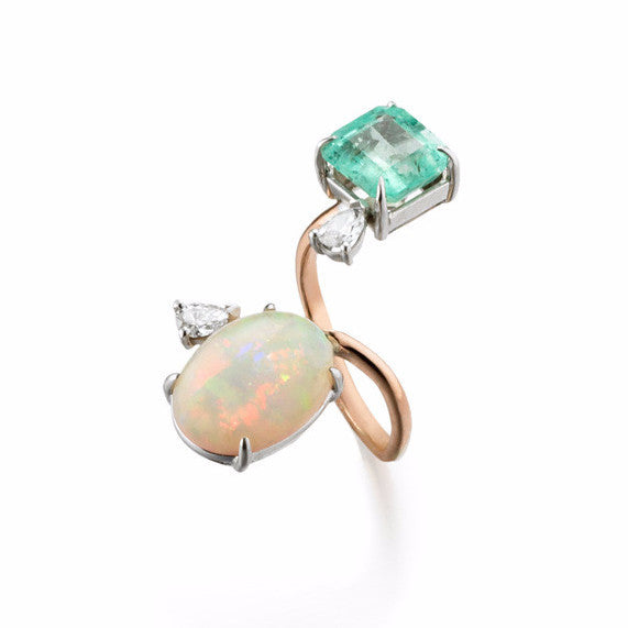 Gemini Cocktail Ring | Emerald & Opal