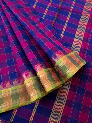 Colourful Madras Chex - with zari woven borders