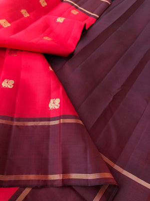 Regal Kanchivaram - super gorgeous combination of red body woven with annapakshi woven butties and burgundy borders Pallu and blouse