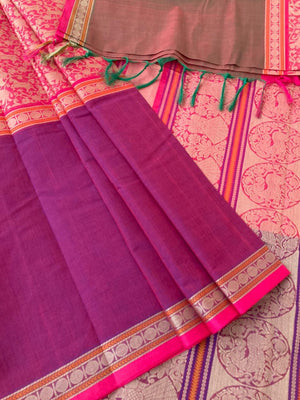 Traditional pink mubbagam vanasingaram with ganga jammuna borders