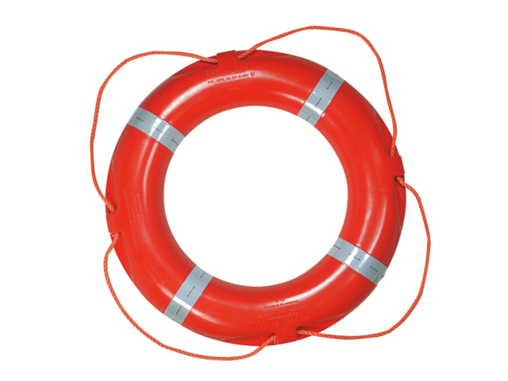 Lifebuoy Ring with Reflective Bands and Added Safety Line