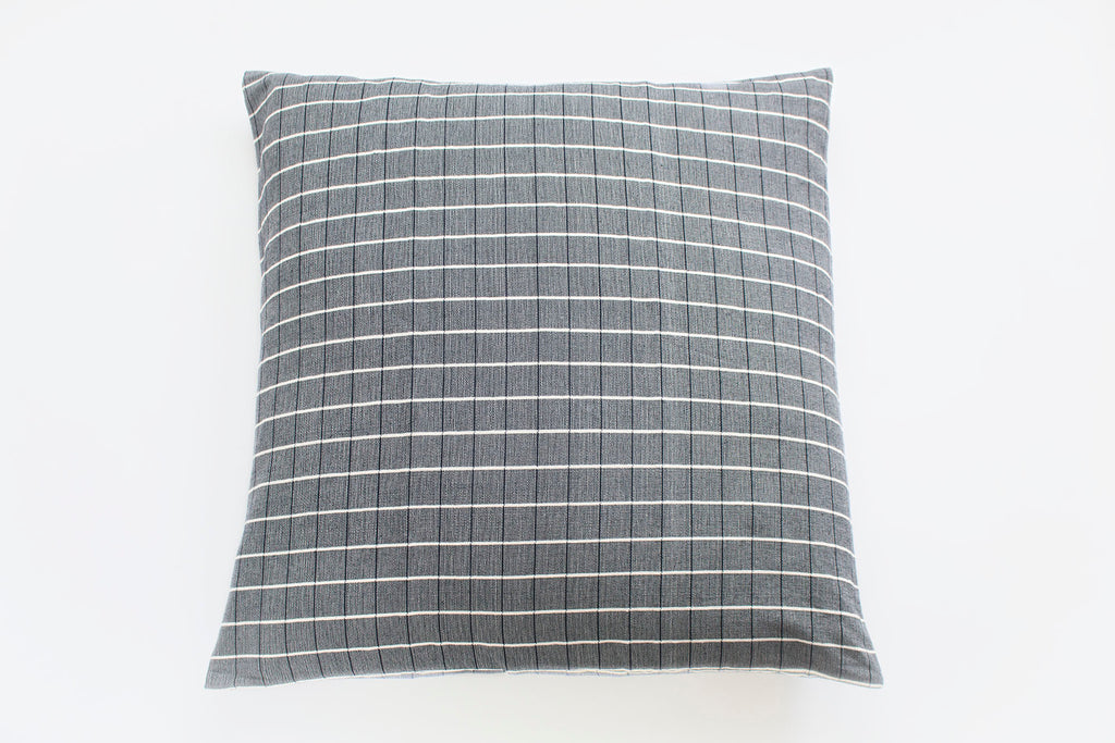 TPE 32 x 32 Navy w Natural Grid Pillow