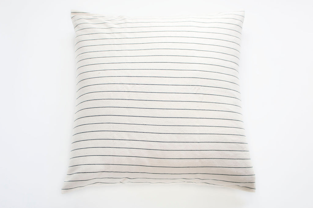 TPE 32 x 32 Natural w Navy Stripe Pillow