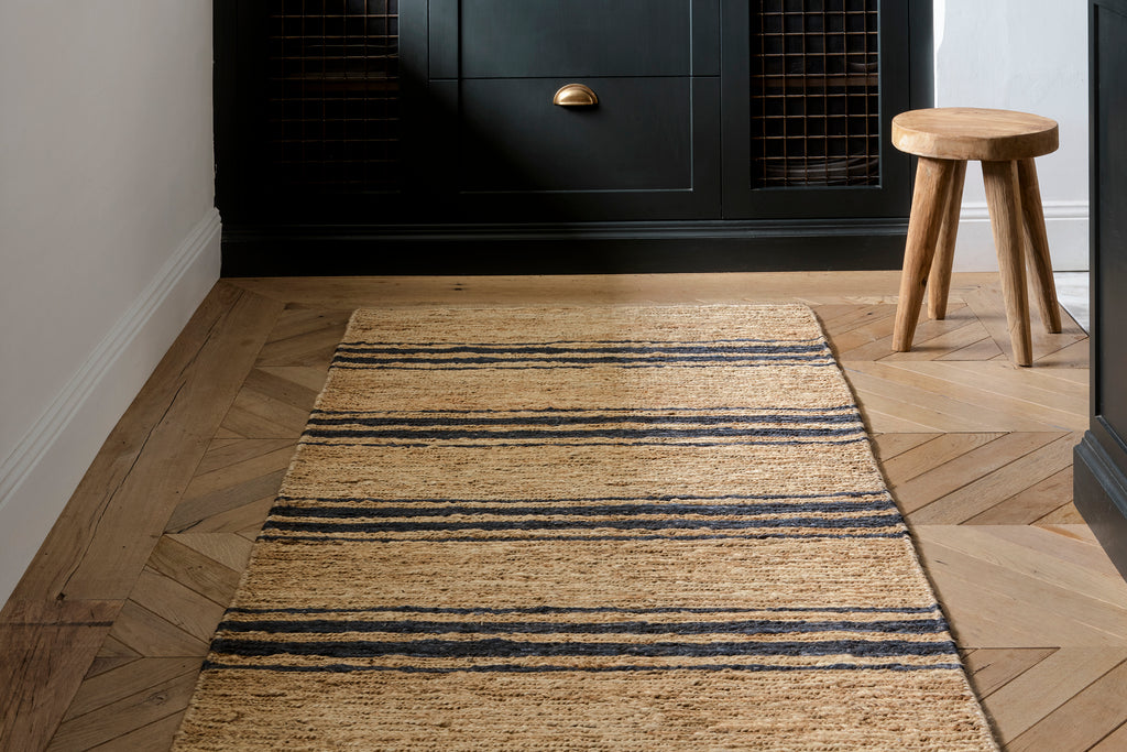 Natural & Indigo River Ticking Runner 3'x8'
