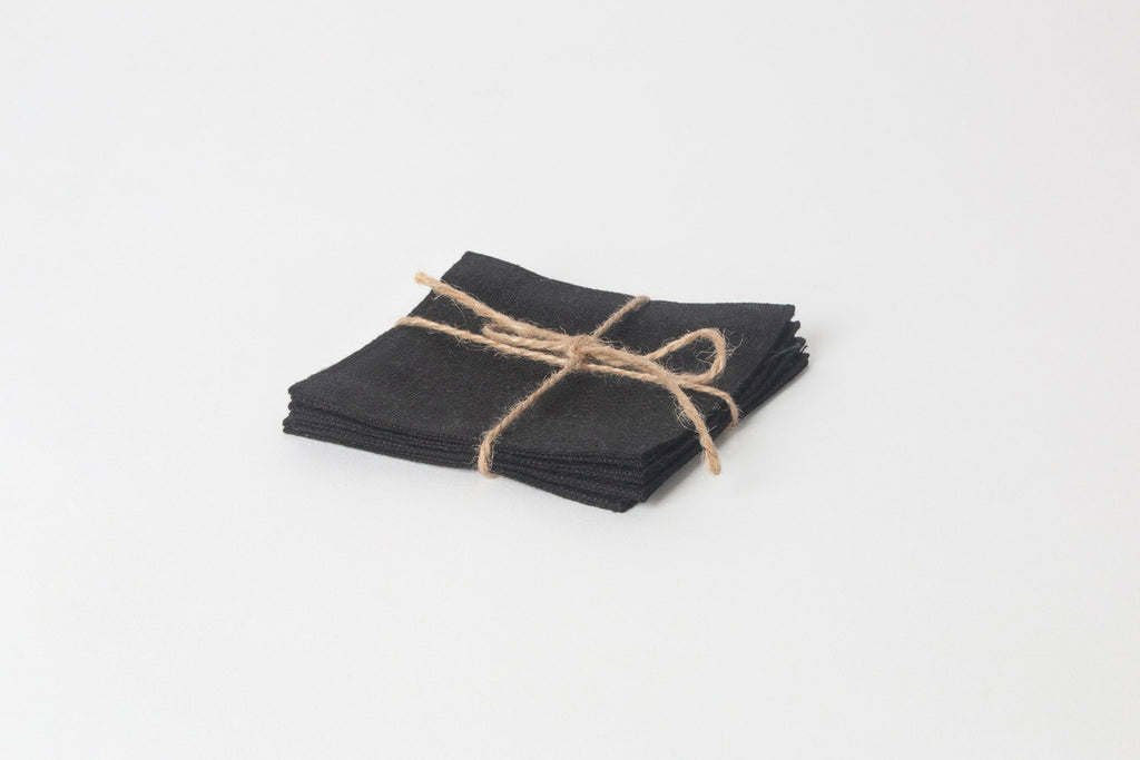 Black Linen Coasters, Set of 4