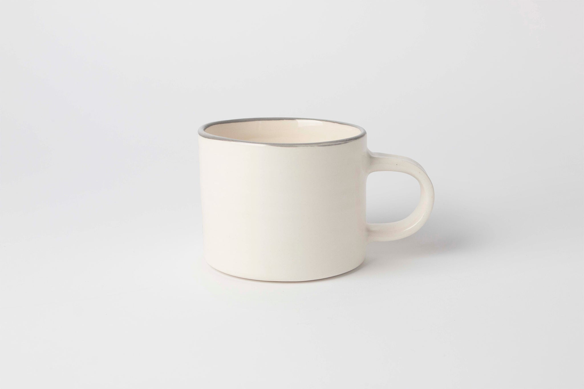 Nicholas Newcomb White Mug with Grey Rim