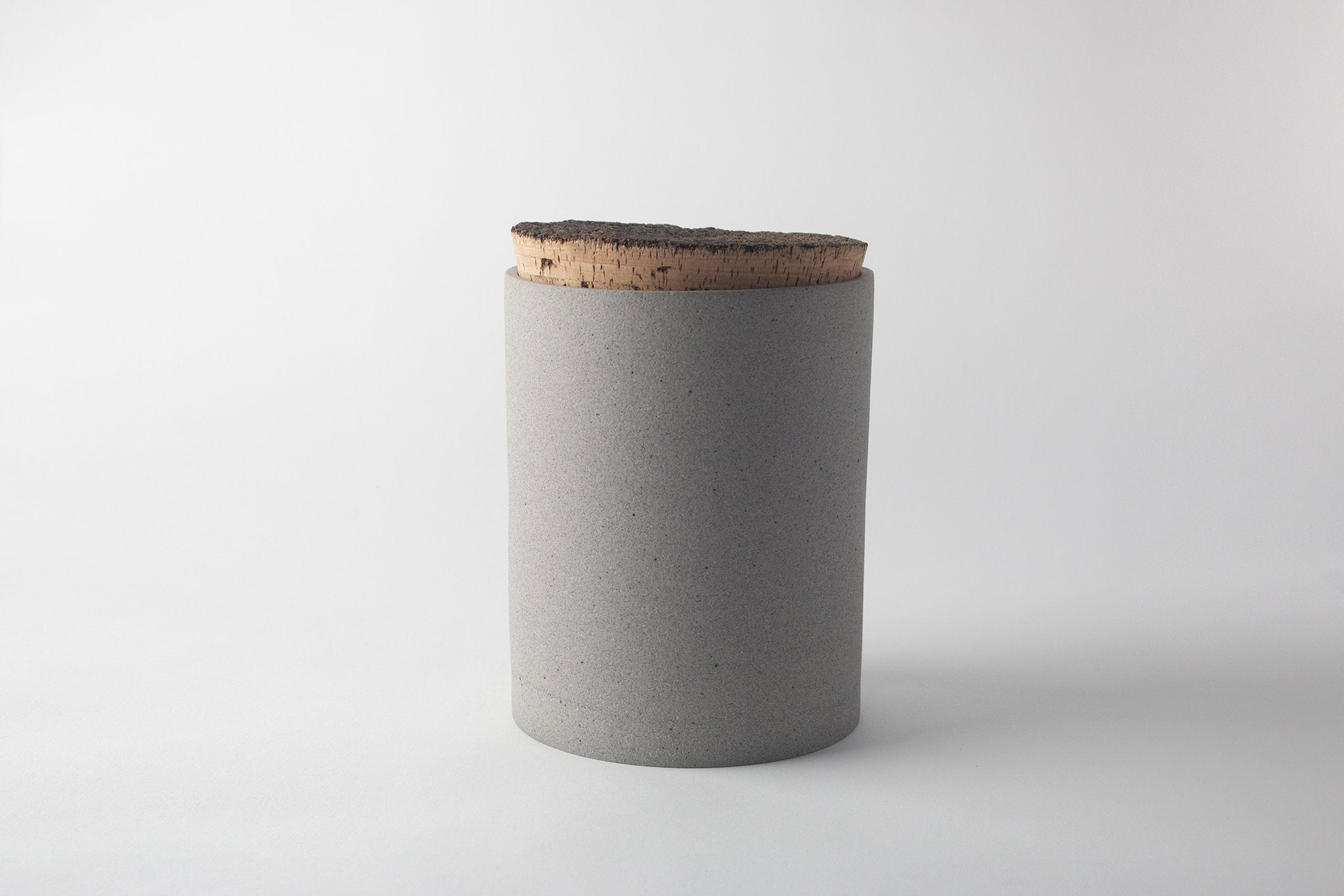 Humble Ceramics Canister 6x8 Greystone RAW OUTSIDE