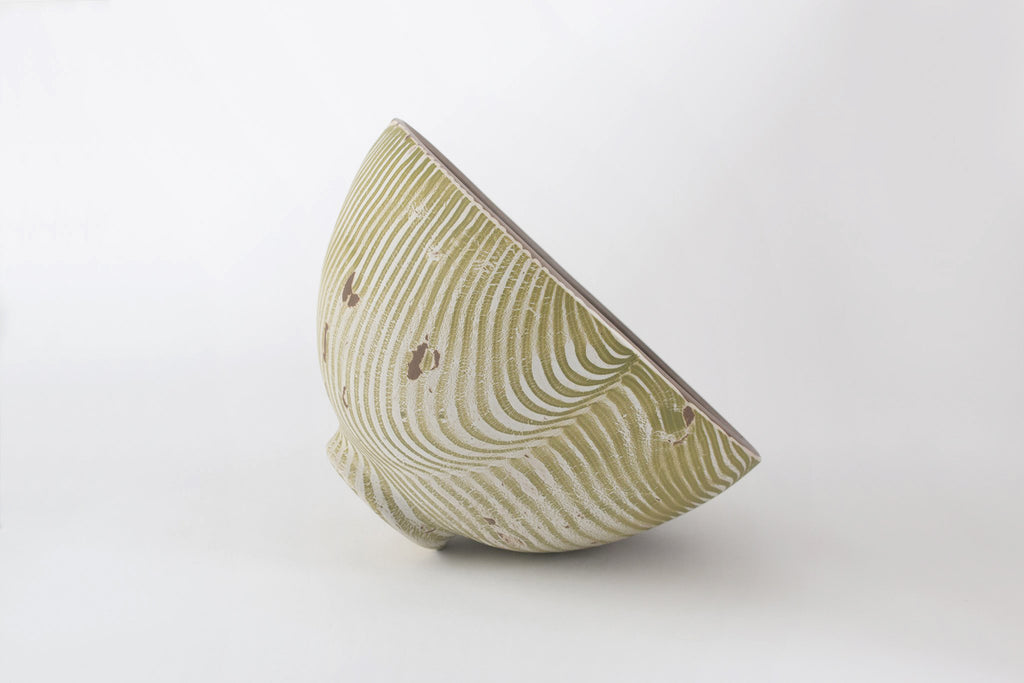 Large Ivory Bowl with Green Stripes