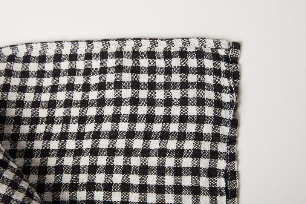 "Black Gingham Tablecloth 55"" x 98"""