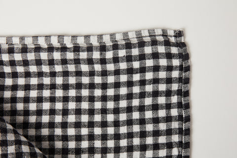 "Black Gingham Tablecloth  63"" x 118"""