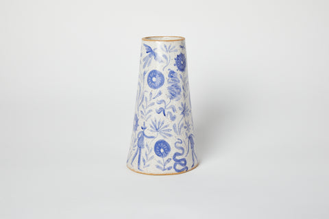 "10"" Blue Painted Vase"