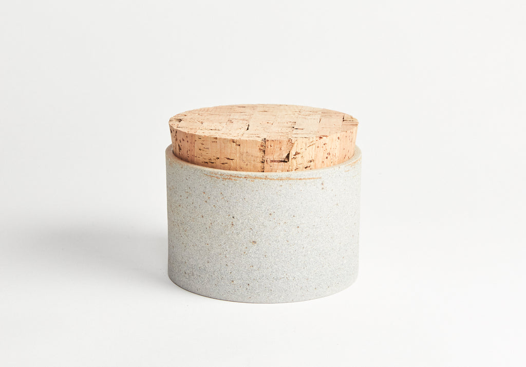 Canister 4.5 x 3 Greystone with Snow White Interior