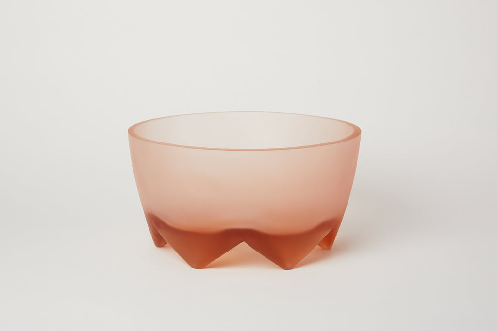 Frosted Glass Footed Bowl Large Blush