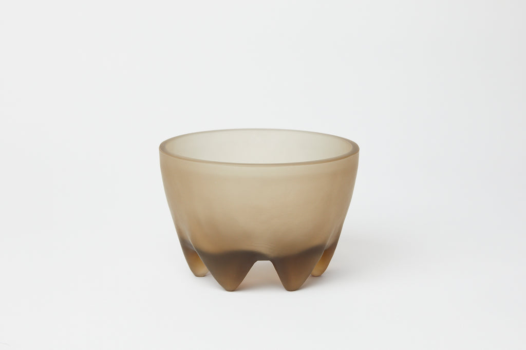 Glass Footed Bowl Frosted Smoke