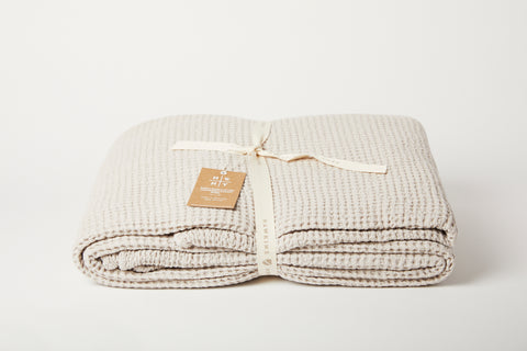 Light Grey Waffle Cotton Lightweight Blanket
