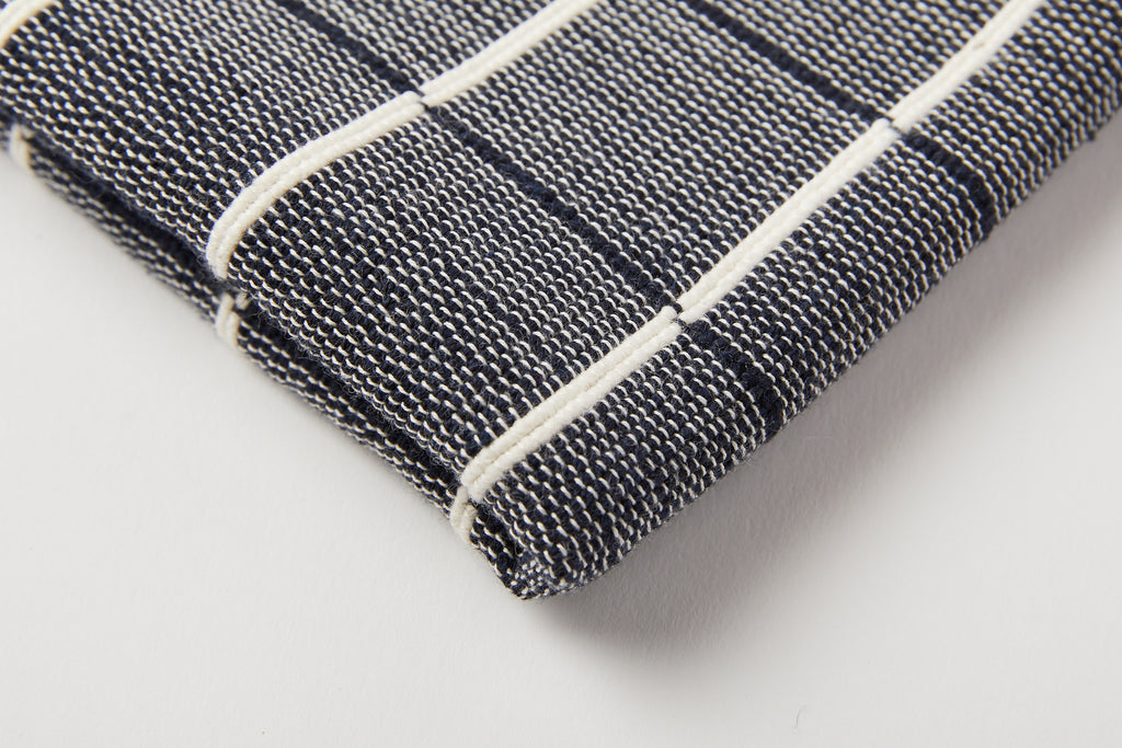 TPE 100% Cotton Navy w Natural Grid Tea Towel