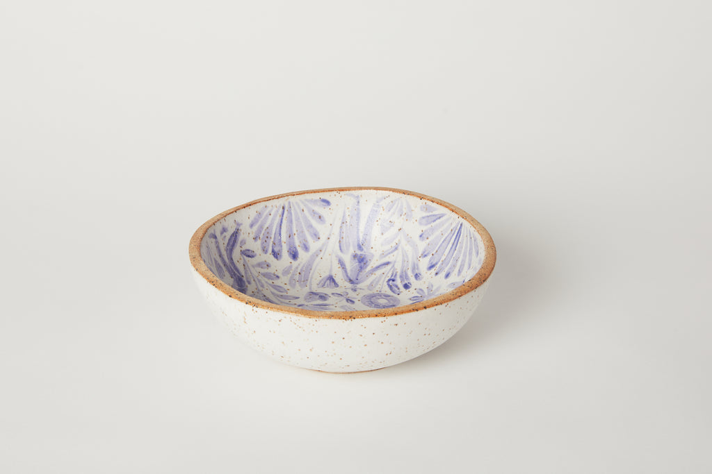 Blue Painted Shallow Soup Bowl