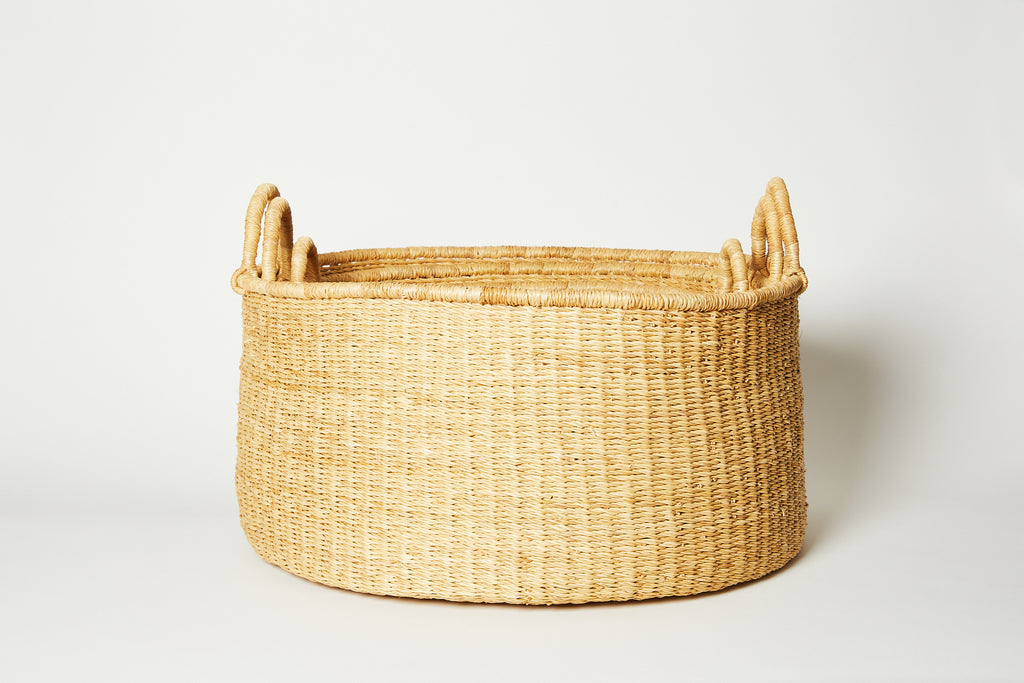 Natural Woven Bolga Floor Basket Small