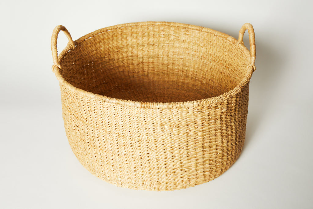 Natural Woven Borga Floor Basket Large