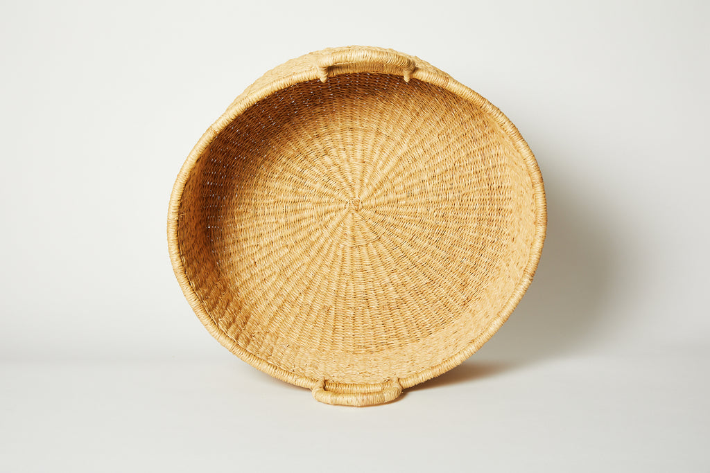 Natural Woven Bolga Floor Basket Medium