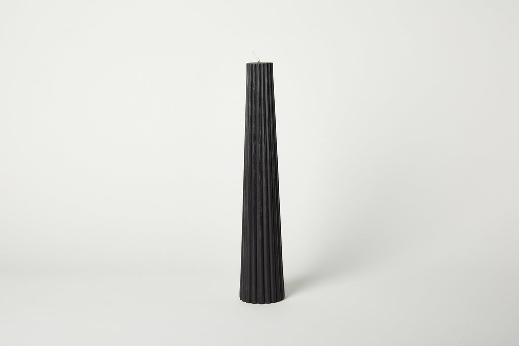 Black Fluted Pillar Candle