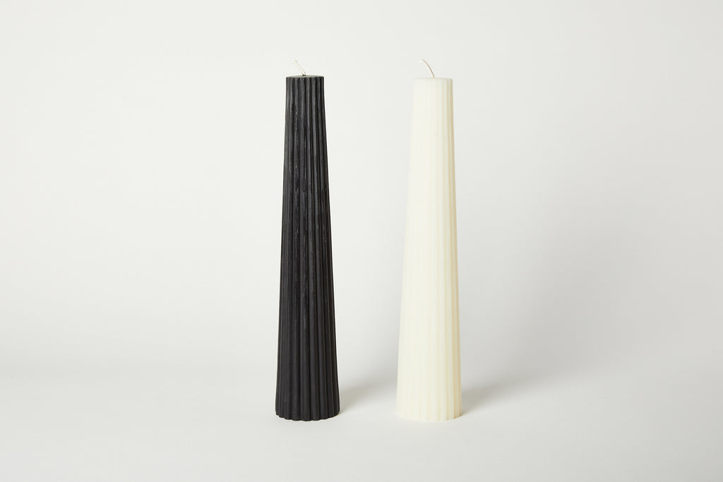 White Fluted Pillar Candle
