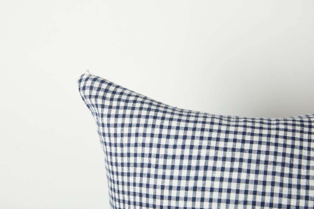 Navy & White Gingham Linen Deadstock 18 x 18 Pillow