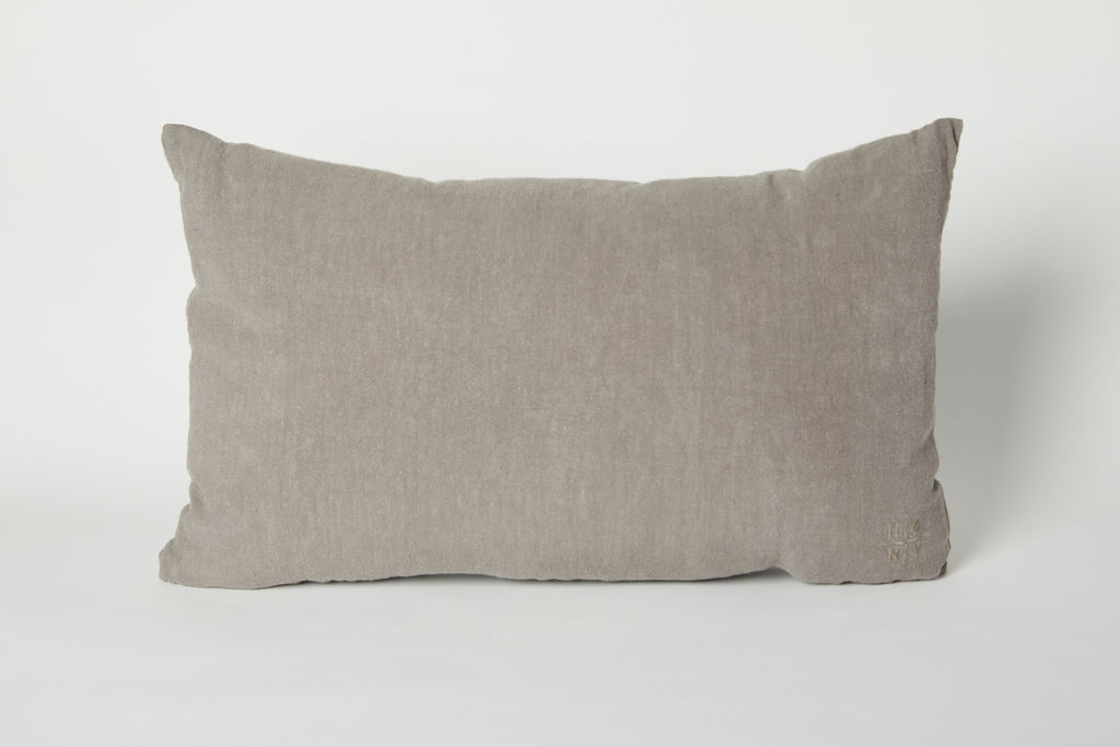 Simple Linen Pillow, Dark Grey 22 x 12
