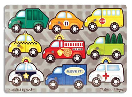 3269 Melissa & Doug Vehicles Mix 'n Match Peg Puzzle