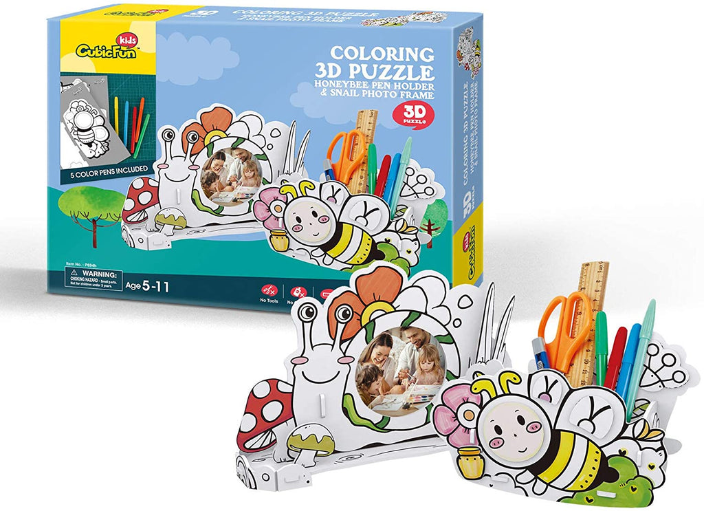 Cubic Fun Coloring 3D Puzzle - Honeybee Pen Holder & Snail Photo Frame 22 Pieces