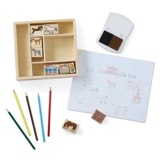 2410 Melissa & Doug Wooden Stamp Set Horses