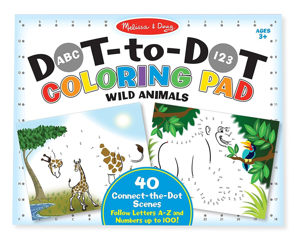 9104 Melissa & Doug ABC 123 Dot-to-Dot Coloring Pad - Wild Animals