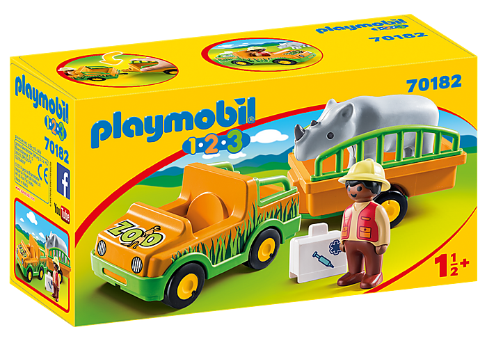70182 Playmobil 1.2.3. Zoo Vehicle with Rhinoceros
