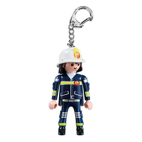 6664 Playmobil Fireman Action Figure Key Chain