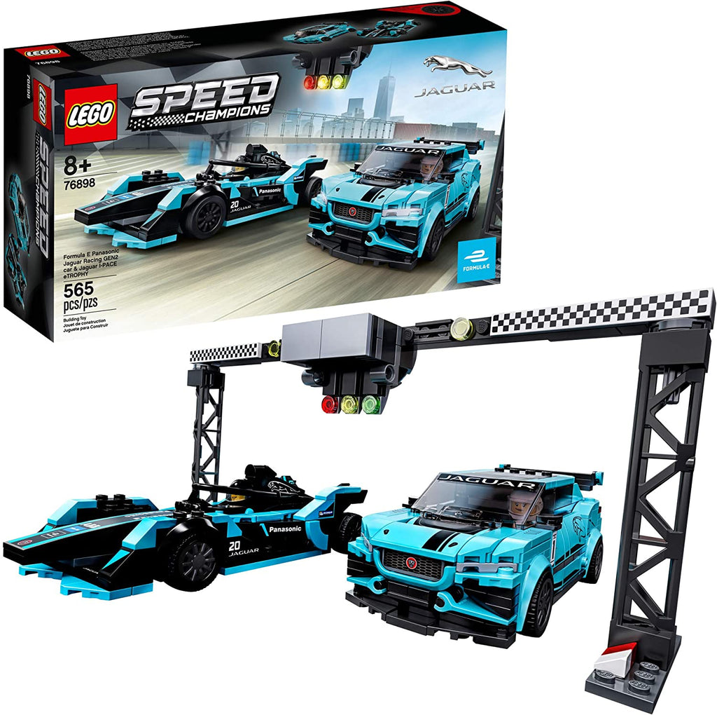 76898 LEGO Speed Champions Formula E Panasonic Jaguar Racing GEN2 car & Jaguar I-PACE eTROPHY