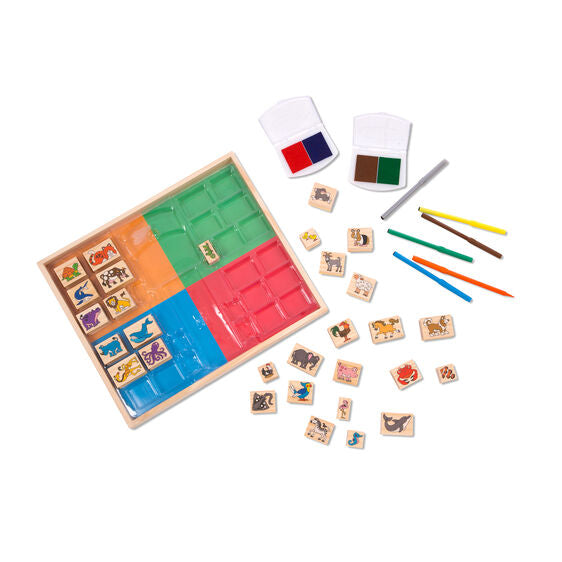 93416 Melissa and Doug Deluxe Wooden Stamp Set in Display