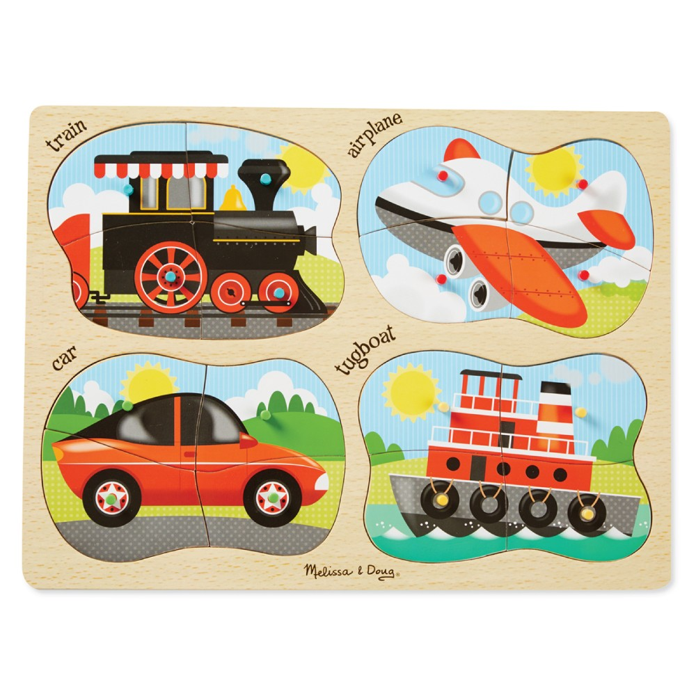 9865 Melissa & Doug 4 in 1 Vehicles Peg Puzzle