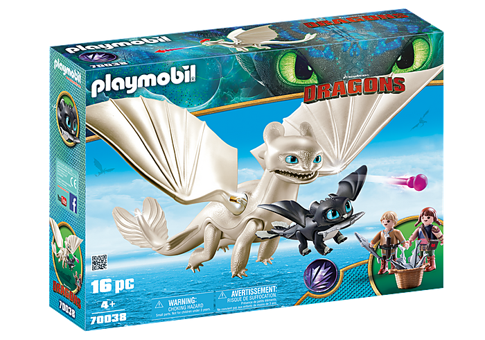 70038 Playmobil Light Fury and Baby Dragon with Kids