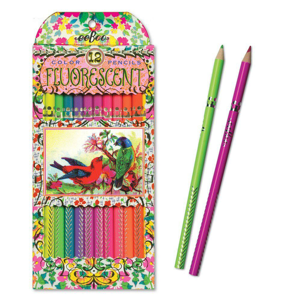 eeBoo Fluorescent Pencils - Victorian Birds 12 Pencils