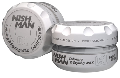 C1 LIGHT SILVER - TEMPORARY COLORING & STYLING HAIR WAX - NISHMAN