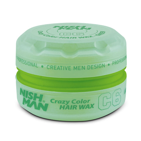 C6 GREEN 150ML - TEMPORARY COLORING & STYLING HAIR WAX - NISHMAN