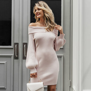 Simplee Elegant women knitted dress Off shoulder long sleeve female autumn winter soft sweater dress Chic ladies office vestidos