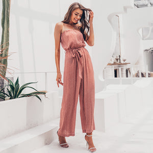 Make It Rain Tie Waist Jumpsuit