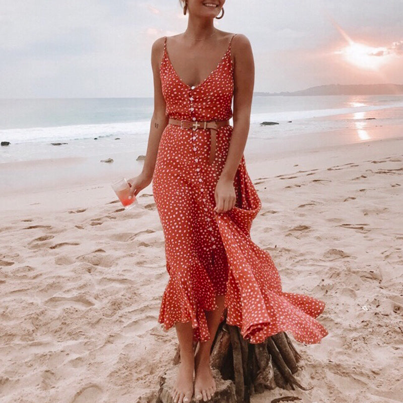 Simplee Elegant Polka dot boho women midi summer dress Sexy v-neck strap button A-line dress Female print beach vestidos