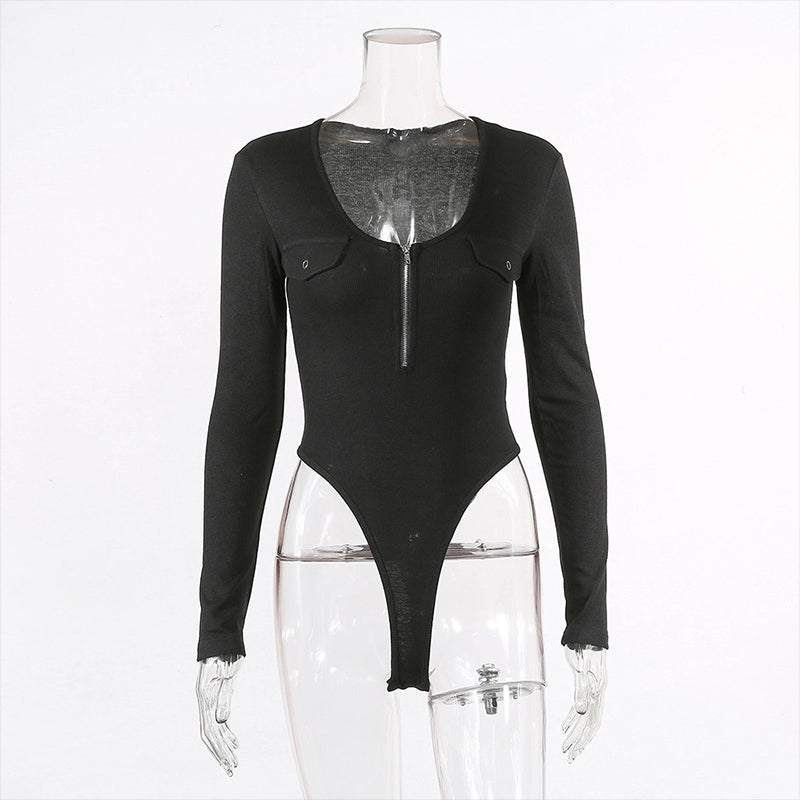 Take The Plunge Zip Up Bodysuit