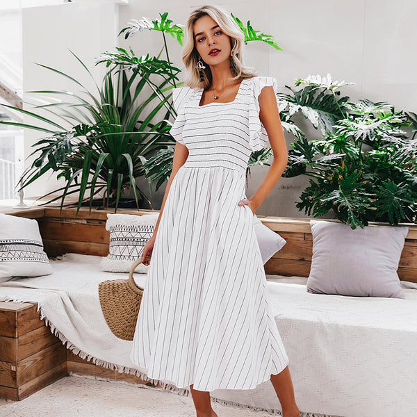 Over Your Head Ruffle Sleeve Midi Dress