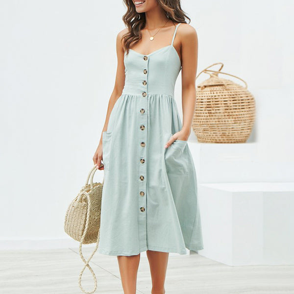 Moment Of Truth Button Front Midi Dress