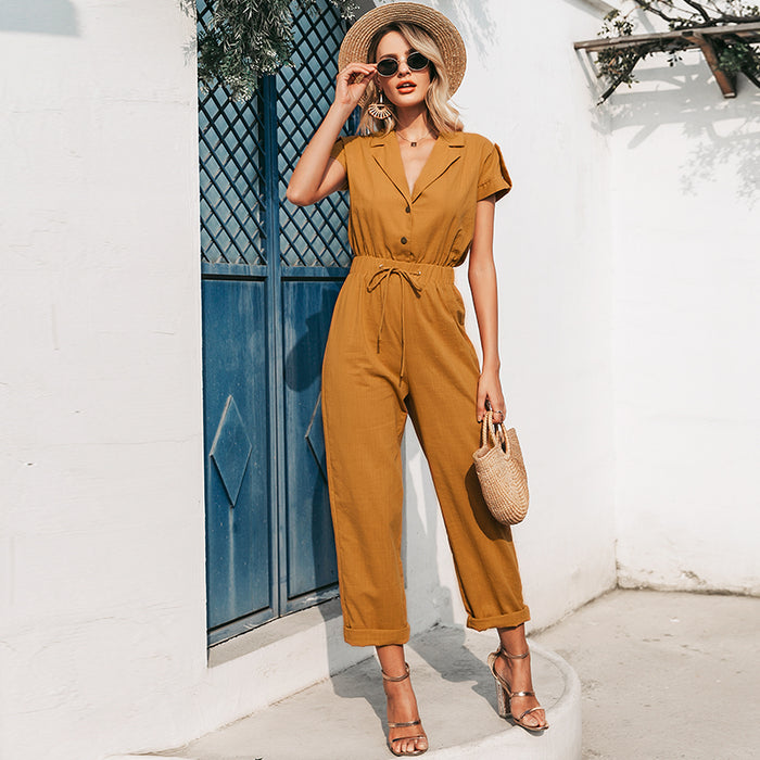 In Charge Tie Waist Jumpsuit
