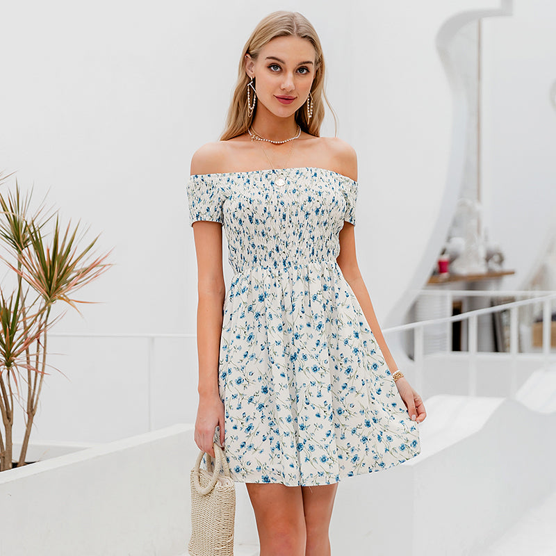 Simplee Elegant off shoulder women mini dress Boho floral print female A-line dress Spring summer holiday beach ladies dresses